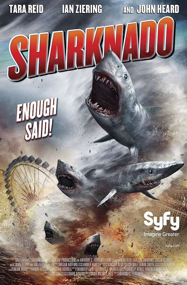Other movies, such as The Meg and Sharknado also 'overtly present sharks as terrifying creatures with an insatiable appetite for human flesh,' a presentation that researchers say is 'just not true'
