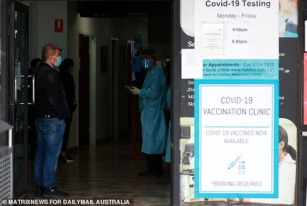 The Premier appealed for anyone feeling ill to isolate and get tested rather than head to their local pharmacy. Seen here is a testing centre in Fairfield in Sydney's south-west
