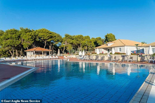 The girls are stuck in a quarantine hotel (pictured) on the Greek party island of Zante for a fortnight after just one of them tested positive for Covid meaning the others must isolate