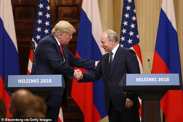 Then President Donald Trump and Vladimir Putin in Helsinki in July 2018