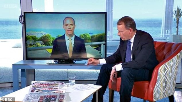 The 62-year-old warns that even if you're double-vaccinated, you don't have superpowers, you can still get ill. Pictured: Andrew talking to Dominic Raab at the G7