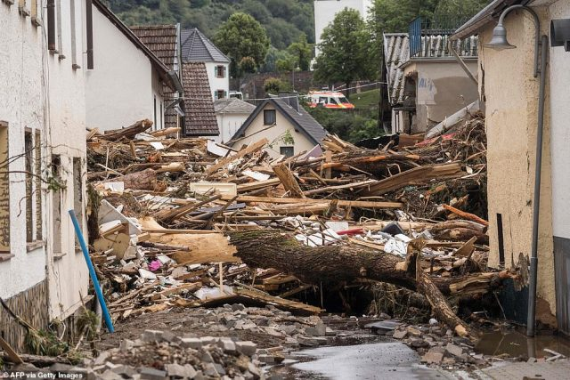 GERMANY: Debris lay in a street after the floods caused major damage in Schuld near Bad Neuenahr, western Germany