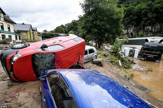 The village of Schuld in the district of Ahrweiler is destroyed after heavy flooding of the river Ahr in Germany,