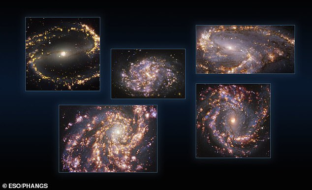 This image combines observations of the nearby galaxies NGC 1300, NGC 1087, NGC 3627 (top, from left to right), NGC 4254 and NGC 4303 (bottom, from left to right) taken with the Multi-Unit Spectroscopic Explorer (MUSE) on ESO's Very Large Telescope (VLT)