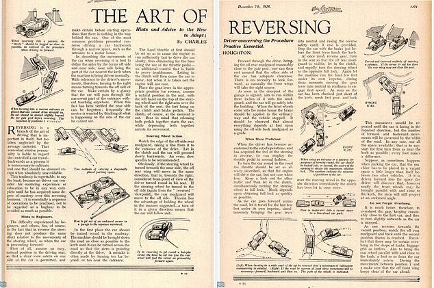 Tips: An article from December 1928 instructs new drivers in the 'art of reversing' with advice that remains valid to this day