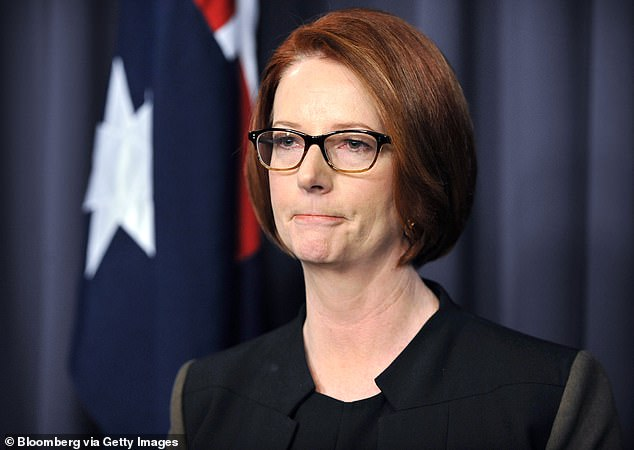 Former prime minister Julia Gillard (pictured) was grilled by an Australian resident unable to fly home due to current limitations as a result of the pandemic - she was asked her hypothetical thoughts if still involved in parliament