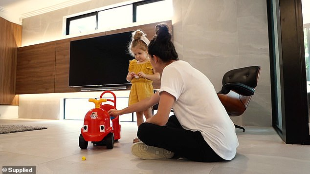 Although stay-at-home mums outnumber stay-at-home dads by six to one, many people have complained the name of Dennis Mitrevski's Mommy's Tiny Helper (pictured) is not 'inclusive'