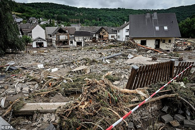 A view of the damage at village of Schuld in the district of Ahrweiler, where most of the missing hail from, after heavy flooding of the river Ahr