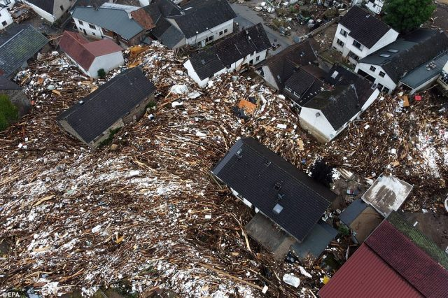 Rescue crews are now sifting through rubble in theAhrweiler region (town of Shuld, pictured) where 1,300 people are missing amid warnings the death toll could rise considerably