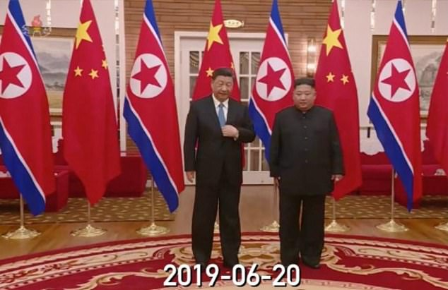 The interior shown in the music video appears to match the interior of the Kumsusan Guesthouse when Kim met Xi Jinping in 2019