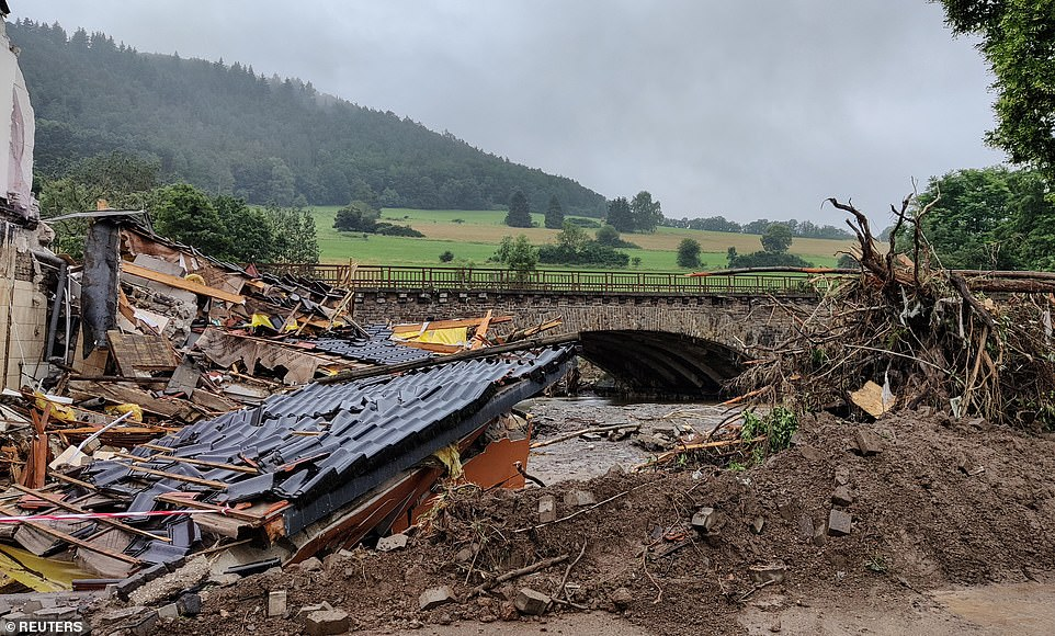 A collapsed building is pictured after a flood in Schuld, Germany