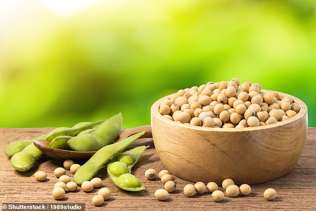 The researchers recruited 38 postmenopausal women who reported experiencing two or more hot flushes every day. The team divided the participants into two groups, one of which stuck to their usual diet while the other switched to low-fat, vegan diet — one which had half-a-cup of cooked soybeans, like pictured, on the menu daily — for a total of 12 weeks