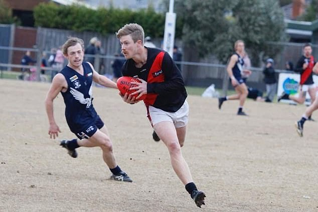 Baller: He is also player for the Victorian AFL team, the Frankston Bombers. Jimmy is pictured on the field
