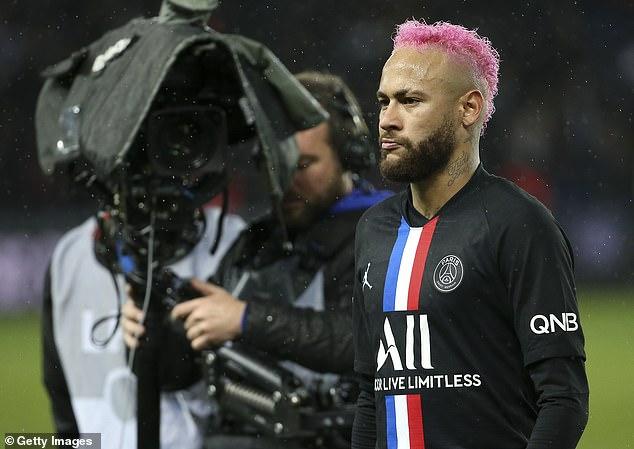 Neymar sported pink hair before featuring for Paris Saint-Germain against Montpellier in 2020