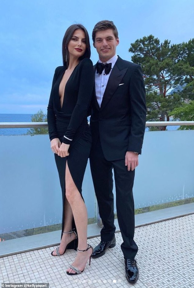 Cheering Max on is his glamorous Brazilian model girlfriend Kelly Piquet (pictured together), who previously dated Daniil Kvyat for three years
