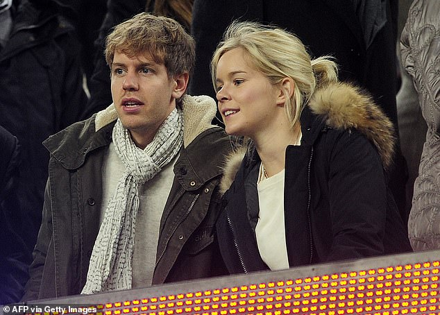 German racing driver Sebastian Vettel, whose joined Aston Martin at the start of the season, has been married to childhood sweetheart Hanna Prater since 2019 (pictured together in 2012)