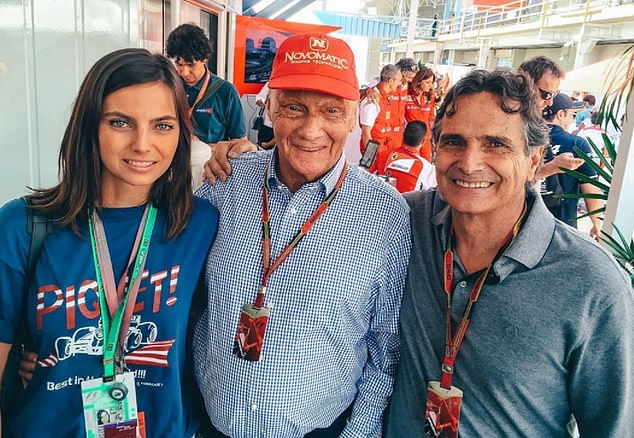 Kelly with her father, three-time F1 world champion Nelson Piquet (right) and fellow F1 legend Niki Lauda