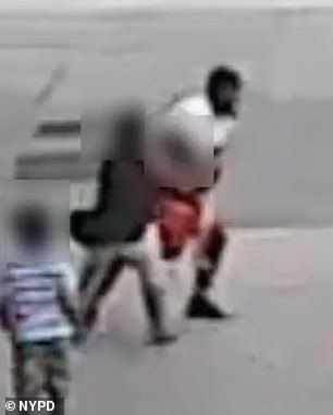 Surveillance video shows the man scoop up the five-year-old boy and carry him to the car