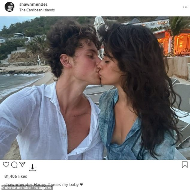 So in love: Camila and Shawn have been in a relationship for two years