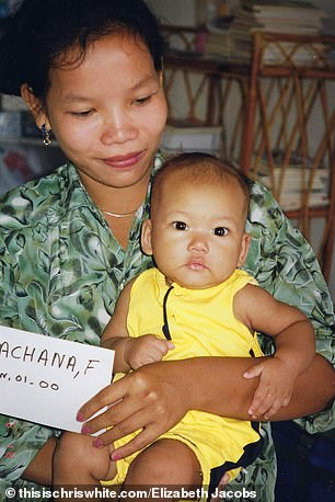 When the couple looked at the papers, they found discrepancies and discovered Galindo's name stamped across papers (pictured is Jacobs as a baby with her Cambodian nanny)