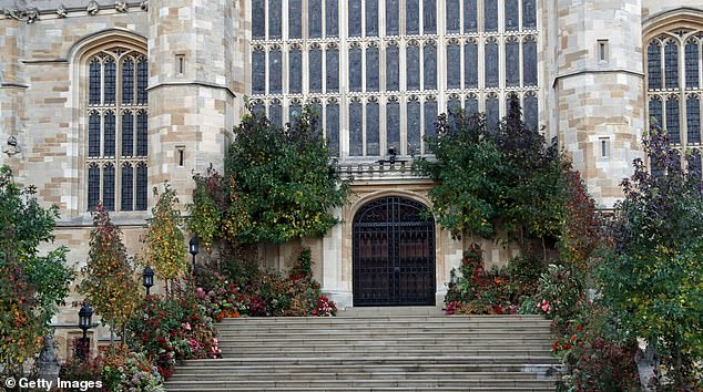 St George's chapel is pictured in October 2018 beforewedding of Princess Eugenie of York to Jack Brooksbank