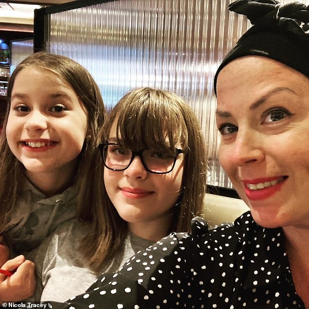 In January, Nicola Tracey sat down with her two young daughters and tried to do the impossible ¿ to find the right words to tell them she had only months left to live. The aggressive breast cancer she had been diagnosed with in July 2018 had returned with a vengeance, and had spread to her brain and lungs. Above: Nicola with daughters Charlotte (left), 10, and Jessica, 12