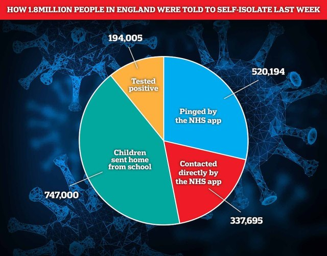 Around 1.8million people were asked to self-isolate last week in England, data suggests. That includes 194,000 people who tested positive, 520,000 who were 'pinged' by the app, almost 340,000 who were contacted directly by Test and Trace, and 750,000 schoolchildren