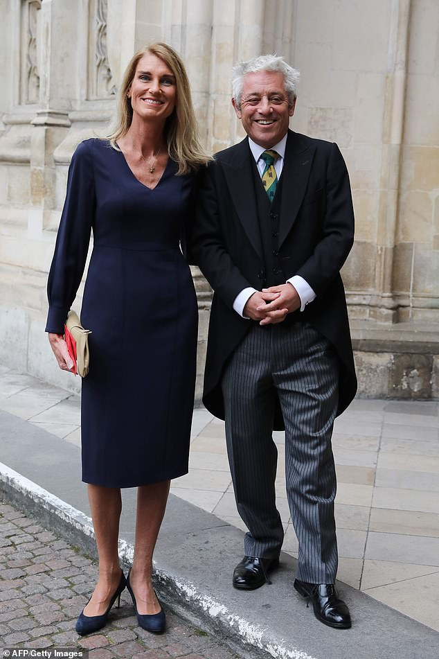 John Bercow, pictured right, decided to accept his pension after stepping down as speaker after discussing the matter with his wife, Sally, left