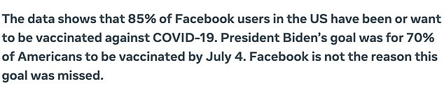Facebook has defended itself against U.S. President Joe Biden's assertion that the social media platform is 'killing people' by allowing misinformation about coronavirus vaccines to proliferate, saying the facts tell a different story