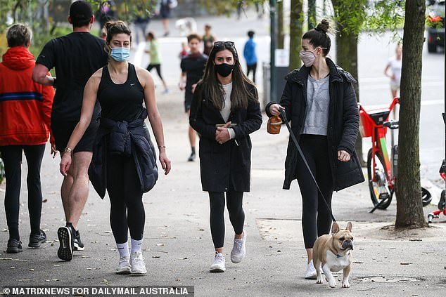 Victorians are in their fifth lockdown since the pandemic after the latest outbreak in NSW crossed the border. Pictured are Melburnians on Sunday