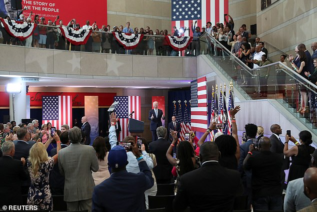 Biden spoke at the National Constitution Center in Philadelphia, just steps from Independence Hall where the Declaration of Independence was signed