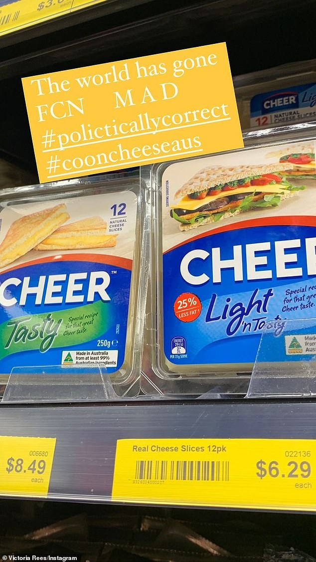 Cheesy:The 57-year-old shared a photo of the redesigned packages of Cheer cheese in her local grocery store to her Instagram Stories and added a disapproving caption