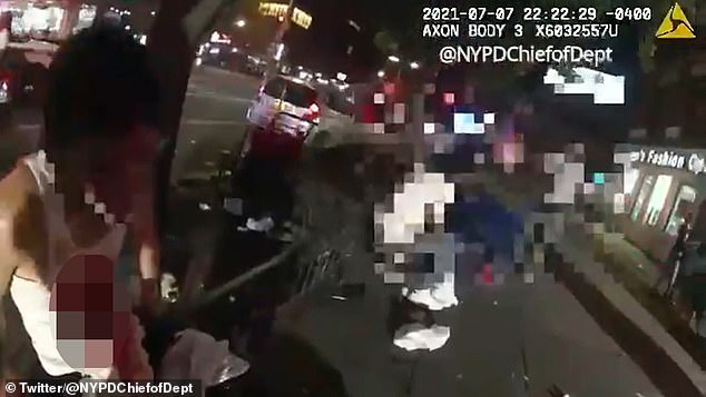 Kennedy's body cam footage shows him approaching the stab victim, a 29-year-old male, in Harlem on the night of July 7