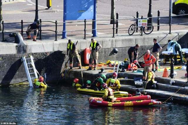 A search is underway for a missing teen at Salford Quays this afternoon with a large emergency service response on scene