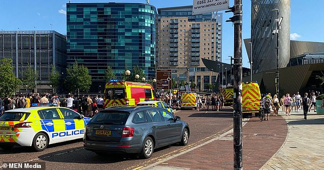 Emergency services rushed to the scene after a man was seen getting into difficult in the water