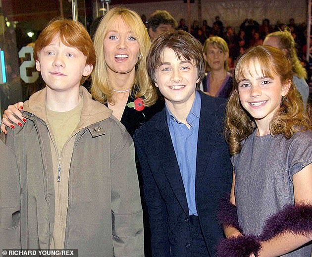 JK Rowling pictured with Rupert Grint, Daniel Radcliffe and Emma Watson in 2001. All three publicly criticised her for her comments