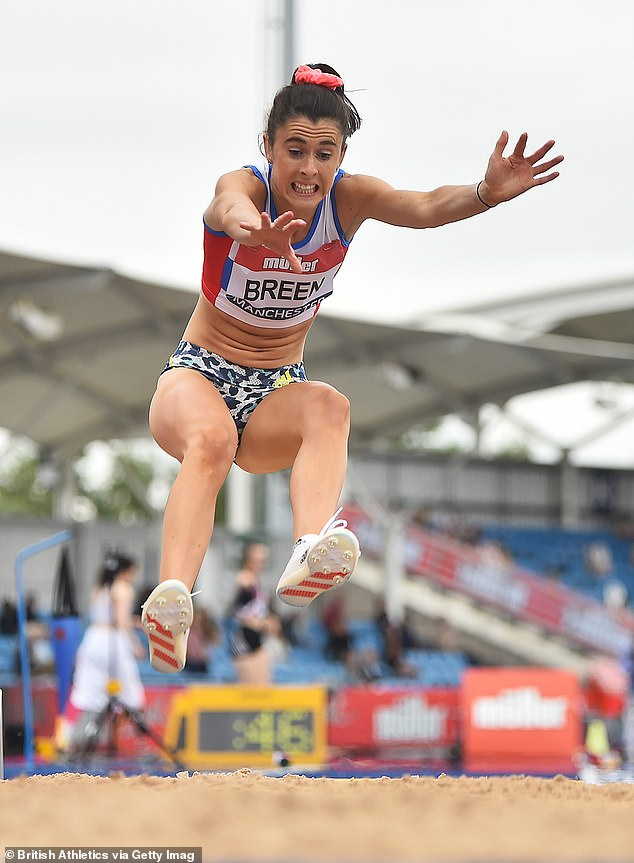 Breen wearing the same outfit in the long jump at the Muller British Athletics Championships in Manchester last month. She said she has worn the same style of brief for 'many years'