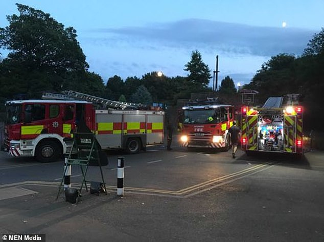 Emergency services located a body at just before midnight at Crookes Valley Park in Sheffield, where the fire service had rushed to the scene (pictured)