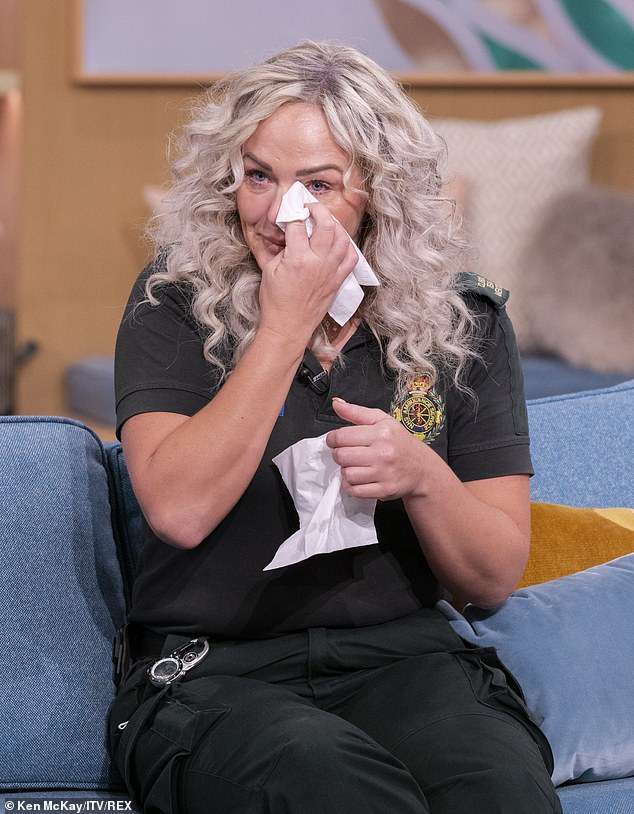 Deena Evans (pictured), 40, broke down in tears as she appeared on ITV's This Morning and recalled how she and colleague Mick Hipgrave, 52, were attacked by Martyn Smith, 52, who had two eight-inch kitchen knives after they entered his home for a welfare check in Wolverhampton in July last year