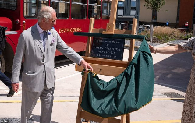Charles unveiled a plaque to commemorate his visit to Exeter Bus Station today during his and Camilla's tour of the South West