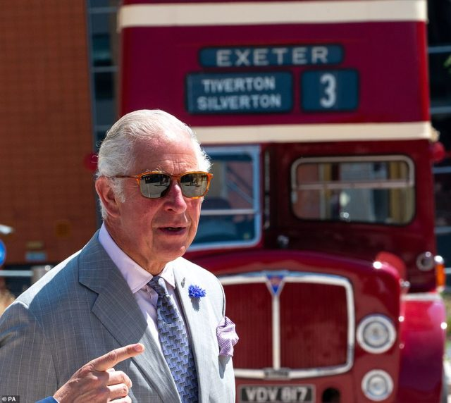 Charles was treated to a tour of a restored vintage bus from 1961 and Stagecoach's latest model by veteran bus driver Mike Prowse
