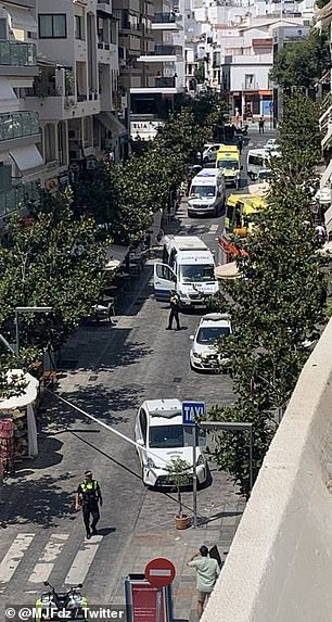 Pictured: The street in Marbella lined with emergency service vehicles on Monday following the crash