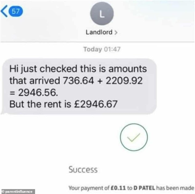 Another viral image shows how a landlord, who lives in the UK, demanded their tenant to send the remaining 11p owed for rent