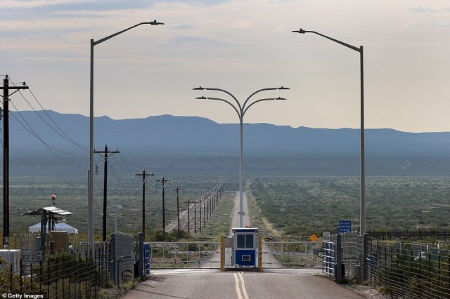 The gate to Jeff Bezos' Blue Origin operations in West Texas on July 19, 2021 in Van Horn, Texas. Mr. Bezos is scheduled to lift off from the launch pad at 8am local time (9am EST/2pm GMT) on Tuesday in Blue Origin's sub-orbital New Shepard rocket in the first human spaceflight for his company
