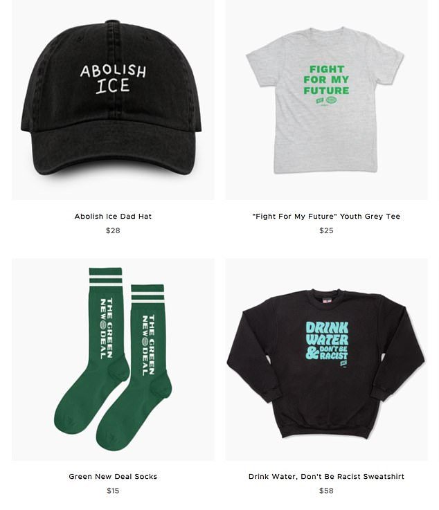 Much of the merchandise on AOC's website feature her name, 'AOC' initials or slogans including 'Fight for our Future' and 'Drink Water & Don't Be Racist'