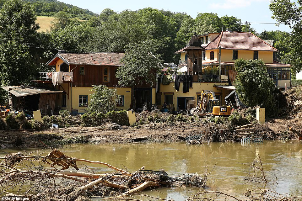 Damage is seen after a major flood in Germany's mountainous Eifel area, in the town of Schuld
