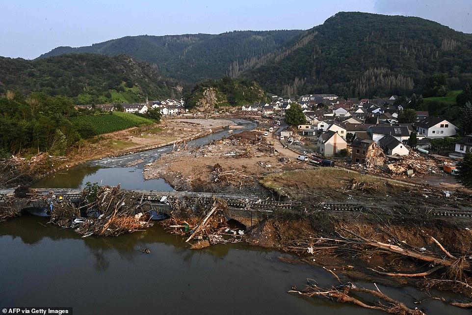A demolished train bridge in Altenburg, western Germany, after severe flash floods hit the region following heavy rainfall last week