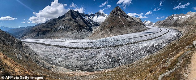 The Alps are the highest and most extensive mountain range system that lies entirely in Europe, stretching approximately 745 miles across eight European countries of Austria, France, Germany, Italy, Liechtenstein, Monaco, Slovenia and Switzerland. Pictured is the Aletsch Glacier above Bettmeralp