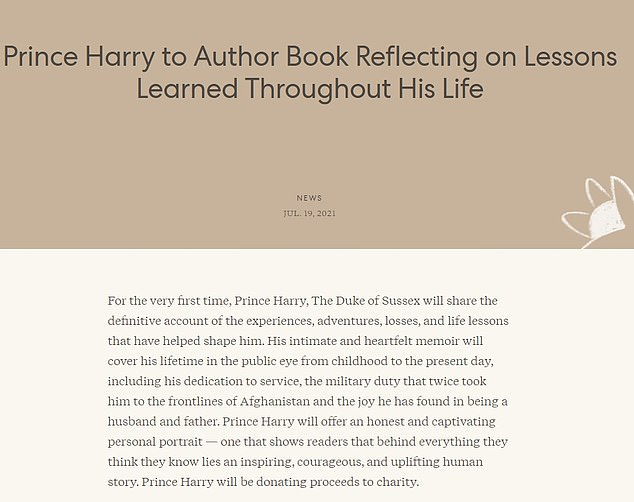In a statement on his website on Monday, Harry said he'd be giving the proceeds of the book to charity