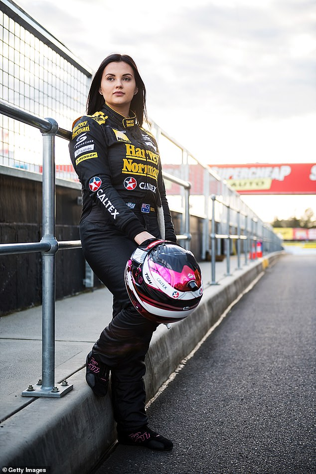 Gear change:The 26-year-old has made 'close to $4million' since ditching a career on the racetrack in favour of creating adult content in late 2019
